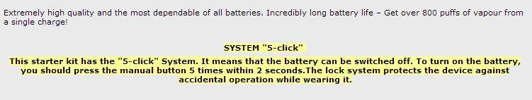5 click system for e-cigs